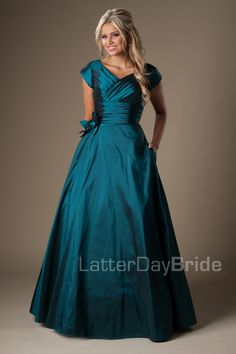 I love the colour and shape of the dress Modest Prom Dresses : Piper