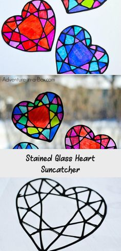 Make a stained glass heart suncatcher with kids and decorate your windows for Valentine's Day! This colourful craft is surprisingly easy with nothing but black glue, sharpie markers and some recyclables. Free printable template is included. Printable Heart Template, Printable Designs, Free Printable, Paper Art Projects, Animal Art Projects, Diy Vintage Bunting, African Art Projects, Plastic Folders, Stained Glass Paint
