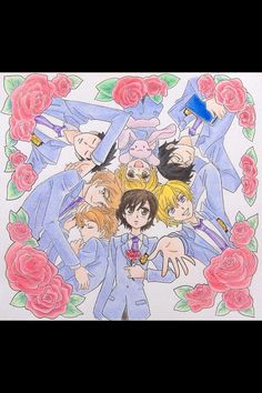 This is a pretty awesome drawing of the guys from Ouran High School Host Club.