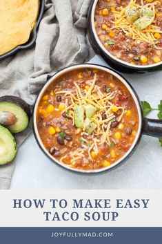 Make this Easy Taco Soup for a quick, healthy dinner for the whole family. This soup can be prepped in under 10 minutes. It's made with beef, onion, corn, tomatoes, and beans and is the perfect quick lunch or easy dinner! Top this soup with cheese, avocado or jalapeños. #dinner