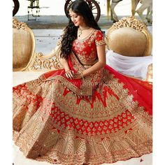 Red And Gold Colour Taffeta Silk Fabric Party Wear Lehenga Choli Comes with matching blouse. This Lehenga Choli Is crafted with Thread Work,Dori Work,hand Work This Lehenga Choli Comes with Unstitched. Lehenga Choli Wedding, Designer Bridal Lehenga, Indian Bridal Lehenga, Party Wear Lehenga, Ghagra Choli, Sharara, Pakistani Bridal, Lehenga Skirt, Silk Lehenga