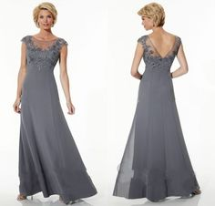 Cheap dresses for the elderly, Buy Quality dress nepal directly from China dresses chiffon Suppliers: CharmingGray Capped Sleeve Long Mother Of Bride Dress With Appliques Long Dress For Wedding Of Mother V Back 2015