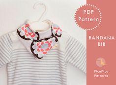 Bandana Scarf Bib PDF sewing pattern. Baby by PicoPicoPatterns