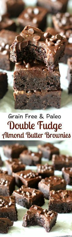 Grain Free and Paleo Double Fudge Almond Butter Brownies - rich, decadent, gluten free, dairy free, soy free, no refined sugar and clean eating friendly. Pin now to make this healthy dessert later.