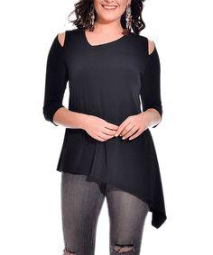 8858b2147b700f Scarlett Black Shoulder Cutout Asymmetrical Tunic - Plus Too