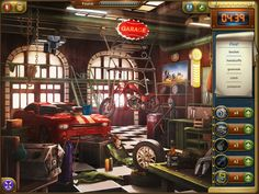 Garage Scene in Incredible Heist Hidden Object Games, Hidden Objects, Mystery Games, Jukebox, Garage, Scene, The Incredibles, Carport Garage, Find Hidden Objects Games