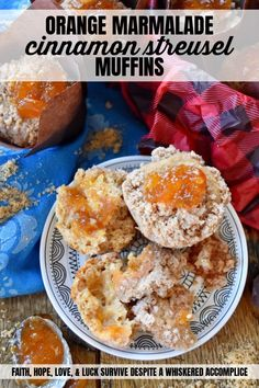 Orange Marmalade Cinnamon Streusel Muffins - What could be better than a streusel-topped muffin for breakfast? A cinnamon-flavored muffin, filled with orange marmalade, topped with a buttery sugar cinnamon sugar streusel, which is then garnished with an additional dollop of orange marmalade. Now that's a muffin worth rolling out of bed for.