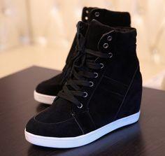 Para Mujer Altas Con Cordones Casual Zapatillas Tacón De Cuña Oculta Botas al Tobillo Zapatos De B806