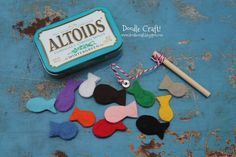 Pocket Sized Magnetic Fishing Set in Altoids tin...fun for dinners out or church!