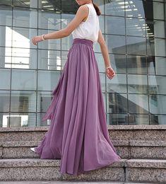 Plus Size Maxi Skirt Chiffon Silk Skirts Beautiful Bow Tie Green Elastic Waist Summer Skirt Floor Length Long Skirt (037),# 70