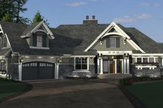 Craftsman Style House Plan - 4 Beds 3 Baths 2374 Sq/Ft Plan #51-569 Exterior - Front Elevation - Houseplans.com