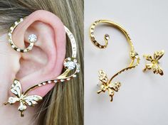 Shop put  favorites, we often have discounts and promotions! Pls, keep an eye on the store - https://www.etsy.com/ru/shop/EarringsEarcuffs      I make a gift with every order :)        Butterfly Symbolism strikingly diverse. For example, the Japanese are accustomed to associate with this insect is true femininity and grace unmatched. That is why the earrings with enamel in the form of these beautiful creatures can be a wonderful addition to a gentle girl's image. Butterflies, whose life is…
