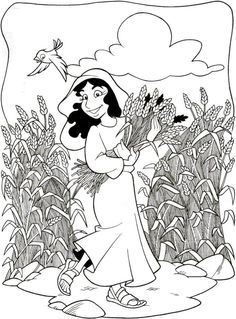 Story Of Ruth Coloring Page Script And Bible Story