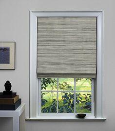 as shown: flat roman shade | grassweave | silver