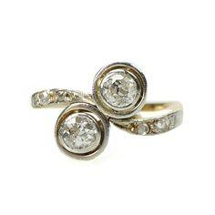 Edwardian Mine Cut Double Diamond Ring Platinum and 18k Yellow Gold