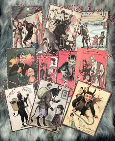 Vintage Krampus Card paper Ornaments