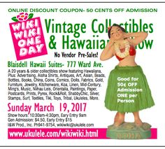 (English) The three yearly Wiki Wiki One Day Vintage Collectibles & Hawaiiana Shows are an all vintage (20 yrs& older) collectibles and antiques show and sale.