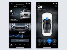 Volvo App Concept designed by Daniel Myer ◉. Connect with them on Dribbble; Modern Web Design, Ui Ux Design, Interface Design, Mobile App Design, Mobile Ui, Car App, Iphone Ui, App Design Inspiration, App Ui