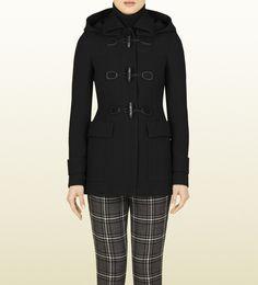 Gucci Black Wool Hooded Coat!