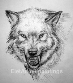 Roaring wolf drawing. Wolf head sketching by EletArt. My original paintings for sale: https://www.etsy.com/shop/EletArt #drawing #animal #wolf #sketching #EletArtoilpaintings