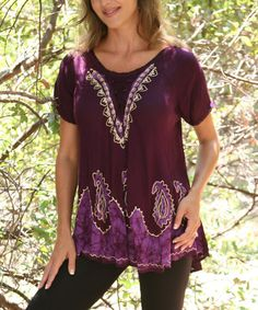 Look at this #zulilyfind! Purple Lace-Up Embroidered Scoop Neck Top by Ananda's Collection #zulilyfinds