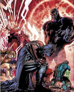 Batman vs Darkseid - Justice League # 6 by Jim Lee << like favorite artwork ever. So dramatic. And to think, later on Batman would be standing up to Darkseid to get his son back without fear of anything. Arte Dc Comics, Flash Comics, Comic Art, Comic Books Art, New 52, Supergirl, Illustration Comic, Jim Lee Art, Univers Dc