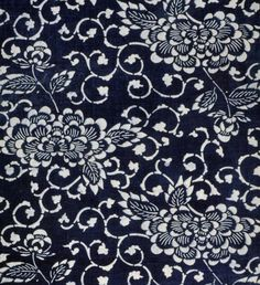 Chrysanthemums and trailing vines cover this length of indigo-dyed katazome fabric. $35.00 || ClothRoads