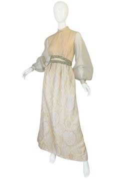 1960s Bob Bugnand Silk, Brocade & Crystal Hostess Dress