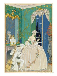 Illustration for 'Fetes Galantes' by Paul Verlaine (1844-96) 1923 (Pochoir Print) Giclee Print by Georges Barbier at AllPosters.com
