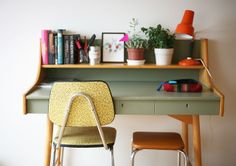 image from teak tray weekdays Workspace Inspiration, Interior Inspiration, Home Office Design, House Design, Vintage Writing Desk, Desk Space, Retro Home, Living Spaces, Sweet Home
