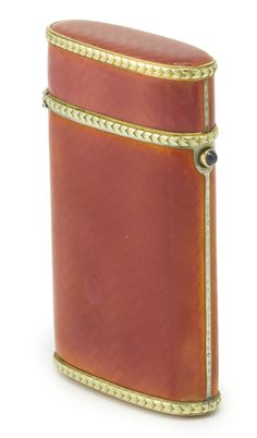 A RUSSIAN GOLD-MOUNTED, GILDED SILVER AND GUILLOCHÉ ENAMEL CIGARETTE CASE, IVAN BRITSYN, ST. PETERSBURG, 1908-1917