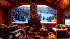 Cozy Cabin Winter Ambience   crackling Fireplace Sounds & Snow Fall for Relaxation, Study & Sleep