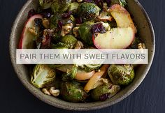 This easy vegetarian/vegan side dish combines roasted brussels sprouts and apples with dried cranberries, chopped walnuts, and a drizzle of maple syrup. Vegetarian Roast, Vegetarian Recipes, Healthy Recipes, Vegetarian Entrees, Primal Recipes, Whole30 Recipes, Gf Recipes, Side Recipes, Light Recipes