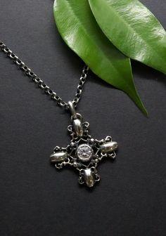 Elegant, Pendant Necklace, Jewelry, Dirndl, Rhinestones, Crosses, Silver, Classy, Jewlery