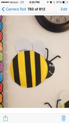 Paper plate bumble bee for our preschool bug and garden unit