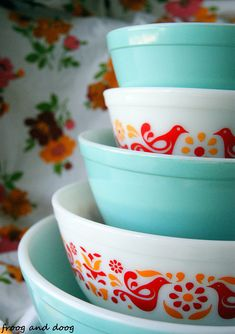 Turquoise and Friendship Pyrex. Although I love my primary bowl set, this is very pretty as well!