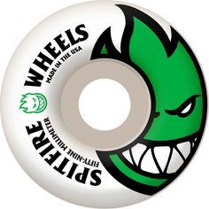 Spitfire Wheels Bighead White / Green Skateboard Wheels - 59mm 99a (Set of 4)