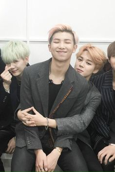 I love everything happening in this pic.... rm, jiminie, and Suga's aegyo