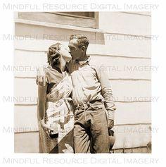 Couple's #Kiss 1940s Vintage Snapshot Polaroid by mindfulresource #valentines