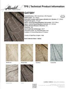 Alendel Fabrics Gatsby TPS | Technical Product Information