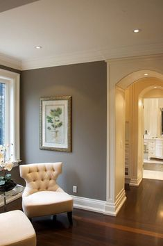 Interior Design : Best Wall Color Ideas 2016 - Awesome Living Space With Grey Wall Color Ideas And White Fabric Sofa Feat Mahogany Wooden Material Complete With Round Clear Glass End Table And White Wooden Frame Window Inspiration