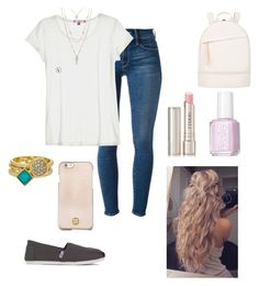 """School outfit"" by manniac-angie ❤ liked on Polyvore featuring moda, TOMS, Frame Denim, Calypso St. Barth, By Terry, Stella & Dot, Ariella Collection, Essie, Want Les Essentiels de la Vie y Tory Burch"