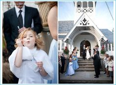 December wedding in West Nyack New York. Flower girl blowing bubbles. Bride and Groom exiting the church.