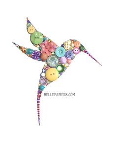 """8x10 Button Hummingbird Button Art & Swarovski by BellePapiers ~ """"I use genuine Swarovski Crystal Rhinestones & high quality buttons, both new and vintage. I also use various embellishments to make your custom piece totally unique. My button art pieces are incredibly detailed, have crisp edges, and will last for generations to come!"""""""