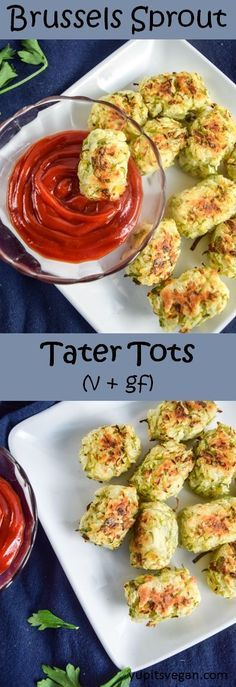 5 Ingredient Brussels Sprout Tater Tots (Baked) | yupitsvegan.com. Crispy, salty, savory baked tater tots made with shredded Brussels sprouts. Vegan, gluten-free, and grain-free recipe.
