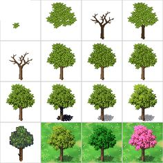RPG pixel art trees