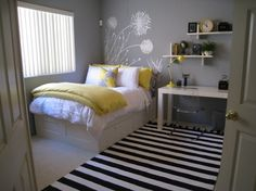 i like this color for natalies room. the paint is by BMoore, pigeon gray. shelves are West  Elm and the rug is PB teen. love this spaces.