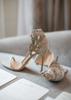 strassed metallic bridal heels with cut outs