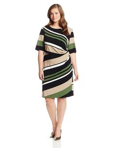 4e2bdbcede873 Gabby Skye Women s Plus-Size Short Sleeve Diagonal Striped Sheath Dress