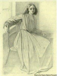 Drawing of Pre-Raphaelite muse/model Elizabeth Siddal by Dante Gabriel Rossetti